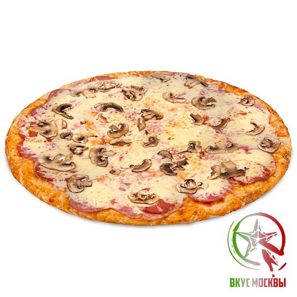 """Пицца """"Ветчина с грибами"""" пицца-соус, ветчина, шампиньоны, сыр моцарелла"""